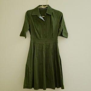 Anthroplogie Lili's Closet Olive Shirt Dress